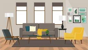 Diseño interior de la sala de estar con un sofá y dos butacas en el fondo de una pared con las ventanas fotografía de archivo libre de regalías