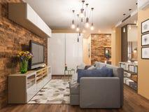 diseño interior de la sala de estar del ejemplo 3d Apartamento-estudio moderno en el estilo minimalista escandinavo Foto de archivo libre de regalías