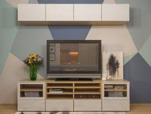 diseño interior de la sala de estar del ejemplo 3d Estudio moderno aparte Imagen de archivo libre de regalías