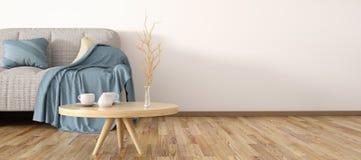 Diseño interior de sala de estar moderna con la representación del sofá 3d Imagenes de archivo