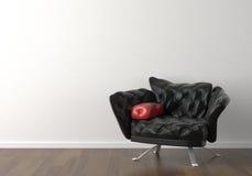 Diseño interior de silla negra encendido Imágenes de archivo libres de regalías