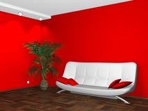 Diseño interior de sofá blanco en la pared roja ilustración del vector