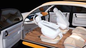 Diseño interior de uno mismo-conducción eléctrico del coche de SUV ilustración del vector