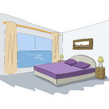 Diseño interior del bosquejo del vector de dormitorio Fotos de archivo libres de regalías