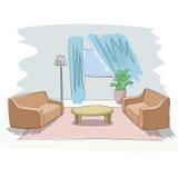 Diseño interior del bosquejo del vector de salón Fotografía de archivo libre de regalías