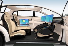 Diseño interior del coche autónomo Concepto para el nuevo estilo del trabajo del negocio al mover encendido el camino ilustración del vector