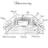Diseño interior del cuarto de baño ilustración del vector