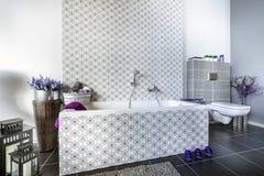Diseño interior del cuarto de baño moderno Foto de archivo libre de regalías