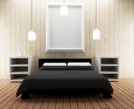 Diseño interior del desván del dormitorio en el ejemplo 3D Imagenes de archivo