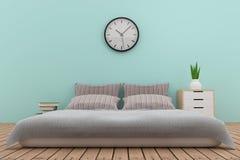 Diseño interior del dormitorio en tono azul en la representación 3D Foto de archivo libre de regalías