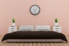 Diseño interior del dormitorio en tono rosado en la representación 3D Imágenes de archivo libres de regalías