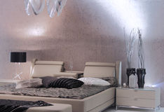 Diseño interior del dormitorio moderno. Imagen de archivo libre de regalías