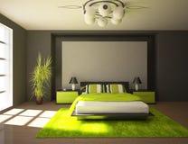 Diseño interior del dormitorio oscuro Foto de archivo