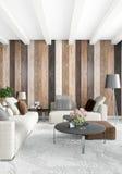 Diseño interior del estilo mínimo blanco del dormitorio con la pared de madera representación 3d ilustración 3D Fotografía de archivo libre de regalías
