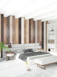 Diseño interior del estilo mínimo blanco del dormitorio con la pared de madera representación 3d ilustración 3D Fotografía de archivo