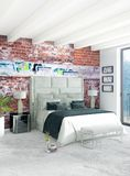 Diseño interior del estilo mínimo blanco del dormitorio con la pared de madera y el sofá gris representación 3d ilustración 3D Fotografía de archivo libre de regalías