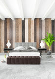 Diseño interior del estilo mínimo blanco del dormitorio con la pared de madera y el sofá gris representación 3d ilustración 3D Imagen de archivo libre de regalías