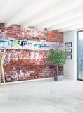 Diseño interior del estilo mínimo blanco del dormitorio con la pared de madera y el sofá gris representación 3d ilustración 3D Fotografía de archivo