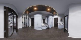 diseño interior del pasillo del ejemplo 3d en estilo clásico Render es Foto de archivo libre de regalías