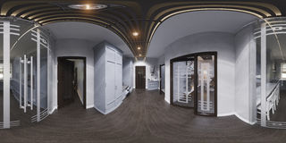 diseño interior del pasillo del ejemplo 3d en estilo clásico Render es Foto de archivo