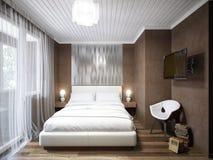 Diseño interior del pequeño dormitorio moderno contemporáneo urbano Imágenes de archivo libres de regalías