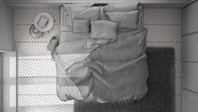 Diseño interior del proyecto inacabado del proyecto, dormitorio del blanco y del minimalist con el piso de entarimado, alfombra d libre illustration