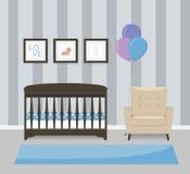 Diseño interior del sitio del bebé en colores azules Pesebre, butaca y imágenes enmarcadas Ejemplo plano del vector del estilo Imagen de archivo
