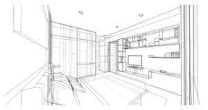 Diseño interior, dormitorio Fotografía de archivo libre de regalías