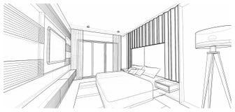 Diseño interior: dormitorio Foto de archivo libre de regalías