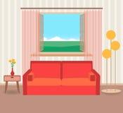 Diseño interior en el estilo plano de la sala de estar con muebles, el sofá, la flor, la lámpara y la ventana stock de ilustración