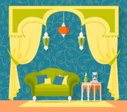 Diseño interior en estilo oriental Vector Imagen de archivo