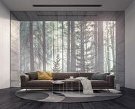 Diseño interior moderno con mirada en bosque de niebla del pino fotografía de archivo libre de regalías