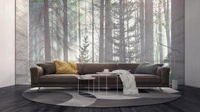 Diseño interior moderno con mirada en bosque de niebla del pino foto de archivo
