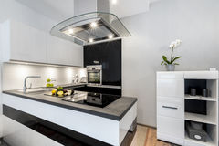Diseño interior moderno de la cocina blanco y negro Foto de archivo