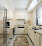 Diseño interior moderno de pequeña cocina, elementos coloreados brillantes de la cocina con las tejas beige y ventana sobre frega libre illustration
