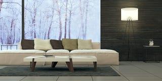 Diseño interior moderno de sala de estar Fotografía de archivo libre de regalías