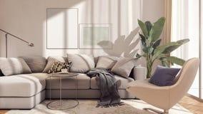 Diseño interior moderno de sala de estar con el marco de la maqueta fotos de archivo libres de regalías