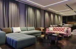 Diseño interior moderno de sala de estar, escena con colores que ponen en contraste, sofá rosado milenario de la noche con el sof stock de ilustración