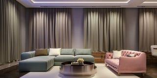 Diseño interior moderno de sala de estar, escena con colores que ponen en contraste, sofá rosado milenario de la noche con el sof fotos de archivo libres de regalías
