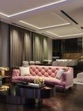 Diseño interior moderno de sala de estar, escena de la noche con colores que ponen en contraste, sofá rosado milenario, cocina y  libre illustration