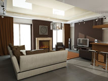 Diseño interior moderno (el apartamento 3d del privat rinde Imagen de archivo