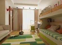 Diseño interior moderno (el apartamento 3d del privat rinde ilustración del vector