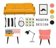 Diseño interior muebles modernos de los mediados de siglo Conjunto de elementos del vector Fotografía de archivo