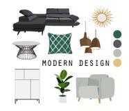 Diseño interior muebles modernos de los mediados de siglo Conjunto de elementos del vector Imagenes de archivo
