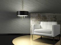 Diseño interior oscuro de sala de estar moderna Fotografía de archivo
