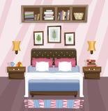 Diseño interior plano del dormitorio Sitio con la cama stock de ilustración