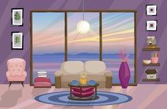 Diseño interior plano, paisaje con puesta del sol hermosa fuera de la ventana Dise?o de la sala de estar libre illustration