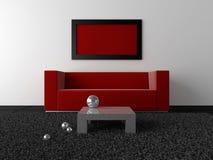 Diseño interior - rojo, negro y metal stock de ilustración