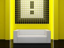 Diseño interior - sofá blanco y decoración moderna ilustración del vector