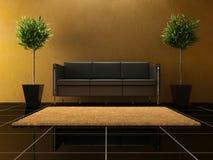 Diseño interior - sofá negro imágenes de archivo libres de regalías